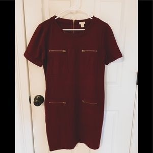 J. Crew burgundy dress with gold zippers